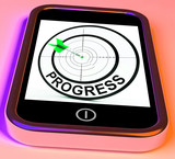 Progress Smartphone Shows Advancement Improvement And Goals
