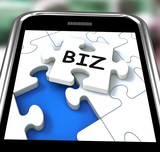 Biz Smartphone Means Internet Company Or Commerce