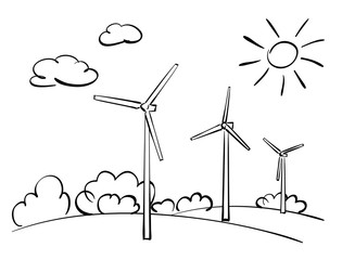 wind turbines and nature - vector illustration