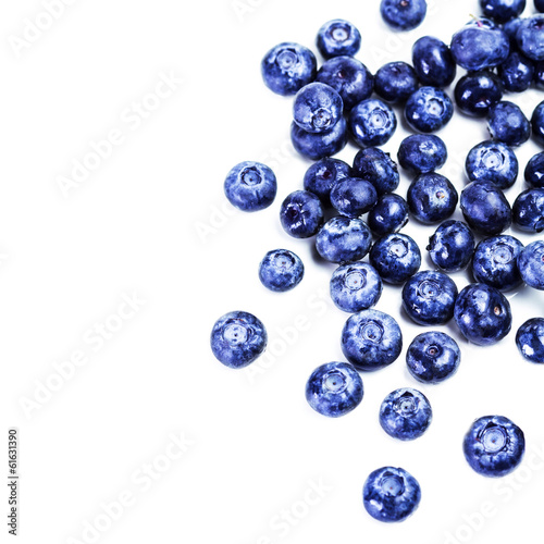 Blueberries isolated on white background close up. Group of huge