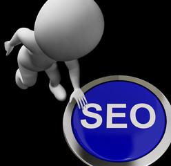 SEO Button Shows Internet Search Engine Optimisation