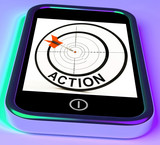 Action Smartphone Shows Acting To Reach Goals