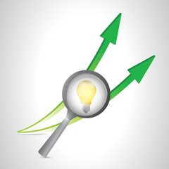 magnify light bulb and arrows. illustration design