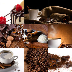 collage with coffee