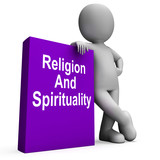 Religion And Spirituality Book With Character Shows Religious Sp