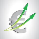 euro currency and up arrows. illustration design