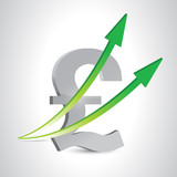 pound currency and up arrows. illustration design