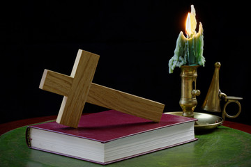 Prayer Book and Cross with Candle