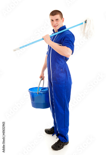 young man cleaning the floor, full lenght, white background