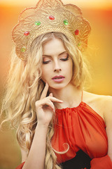 Beautiful Russian girl in a headdress