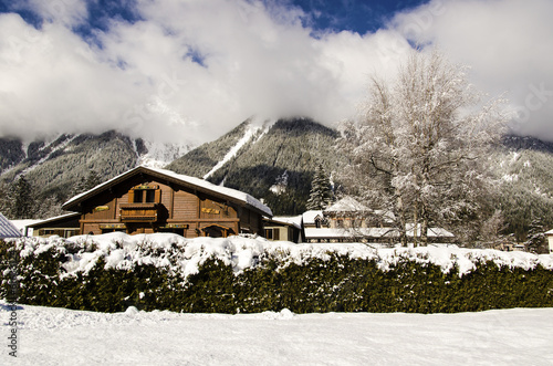 Traditional wooden alpine chalet