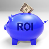 ROI Piggy Bank Means Investors Return And Income