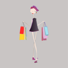 fashion girl with shopping bags in hands