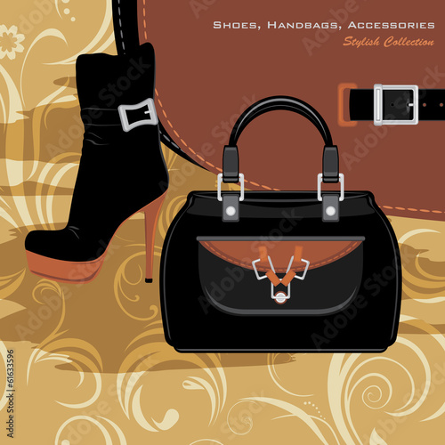 Shoes, handbags and accessories. Banner for fashion design