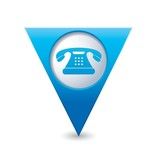 Map pointer with telephone icon