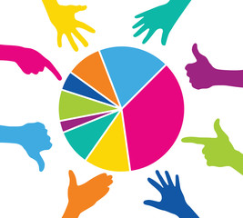 Team play with colorful pieces graph