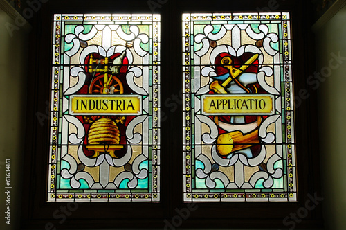Stained glass on the parliament building, Victoria, British Colu