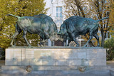 Sculpture of Fighting bisons in Kaliningrad, Russia