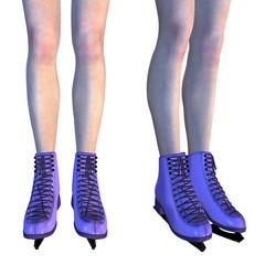 Female Legs in Violet Ice Skates
