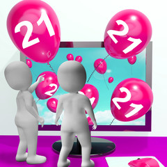 Number 21 Balloons from Monitor Show Online Invitation or Celebr