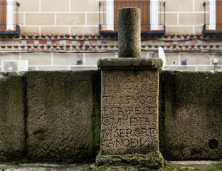Year of 1698. Ancient inscription in Oropesa. Spain.