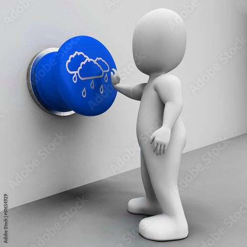 Rain Button Shows Bad Weather And Forecast