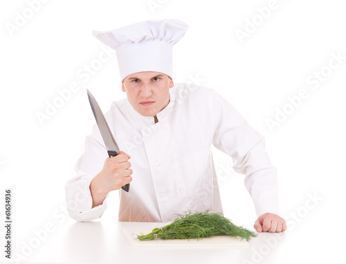 angry male cook with knife, on the white background