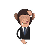 Happy Business monkey over isolated background. Vector design.