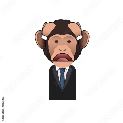 Sad Business monkey over white background. Vector design