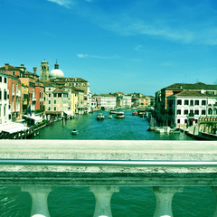 Grand Canal in Venice, Italy, with a retro effect