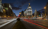 "Night lights of Madrid in the ""gran via"" street"
