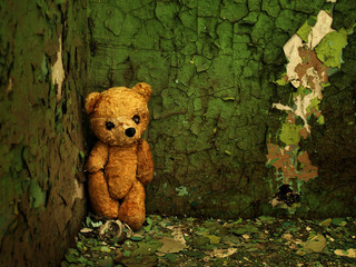 old, forgotten teddy bear in an abandoned house
