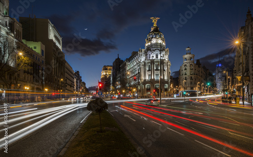 Fotobehang Madrid Night lights of Madrid in the