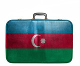 Vintage travel bag with flag of Azerbaijan