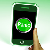 Panic Smartphone Means Anxiety Distress And Alarm