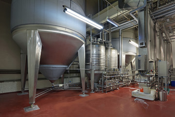 Fermentation department, interior of brewery