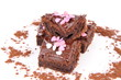 Brownie with chocolate and sugar hearts decoration