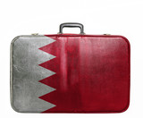 Vintage travel bag with flag of Bahrain