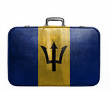 Vintage travel bag with flag of Barbados