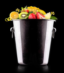 tasty summer fruits in bucket