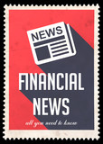 Financial News on Red in Flat Design.