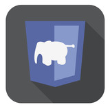 vector illustration of violet shield with elephant php programmi