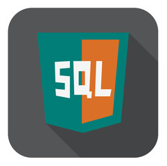vector illustration of aquamarine shield with sql line mysql dat
