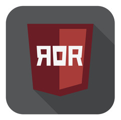vector illustration of dark red shield with ruby on rails  sign