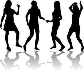 Silhouettes of sexy beautiful women dancing
