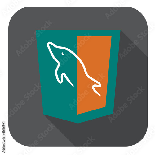 vector illustration of aquamarine shield with dolphin mysql data