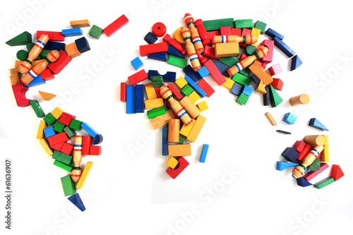 world map from wooden color bricks