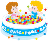 Children play in a ball pool