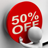 Fifty Percent Off Button Shows Half Price Or 50