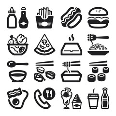 Fast food and junk food flat icons. Black